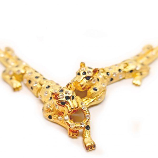 Bijou 2 panthères collier articulé haute fantaisie