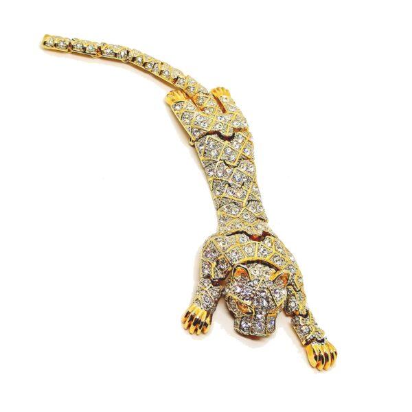Bijou panthère broche articulée 1970-1980 haute fantaisie brooch