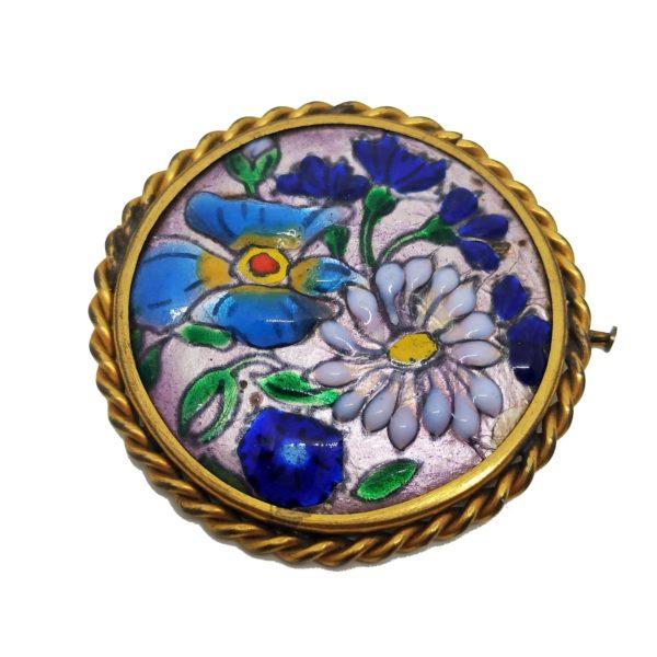 Broche ancienne, fleurs, émaux des Cévennes, brooch