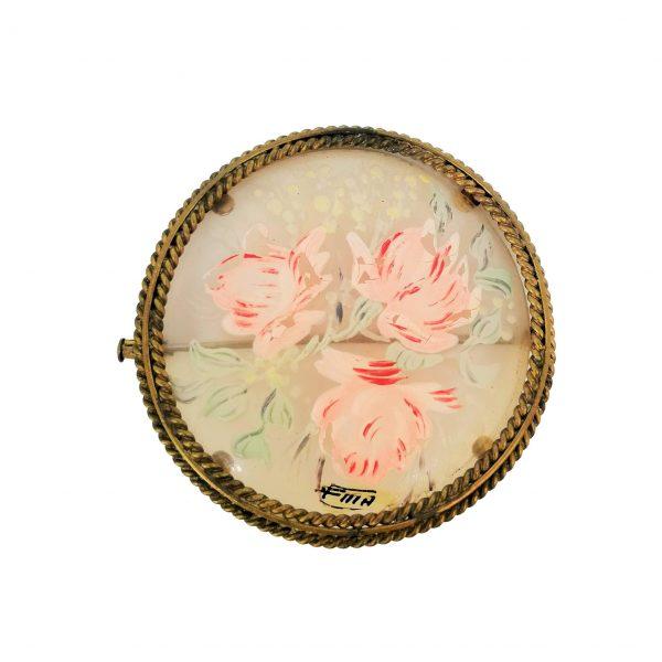 Broche ancienne, fleurs, peinture sur verre