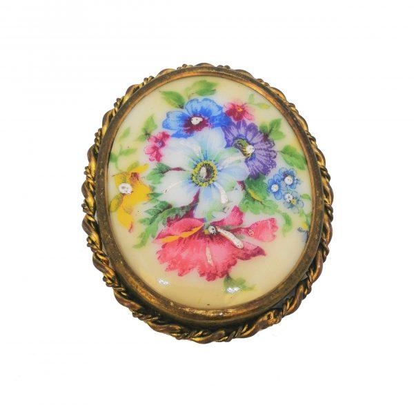 Broche ancienne, fleurs, porcelaine, Limoges, France