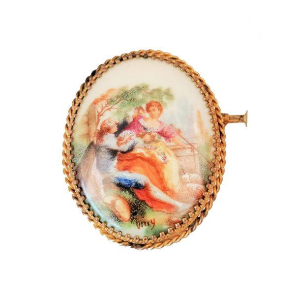 Broche ancienne, scène romantique, Limoges, France