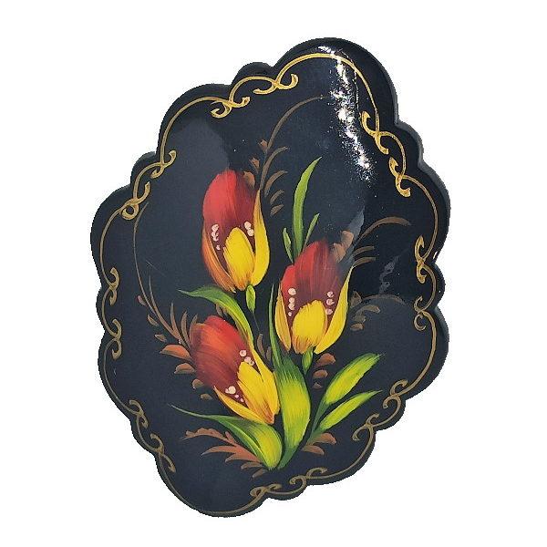 Broche artisanale en papier mâché, brooch