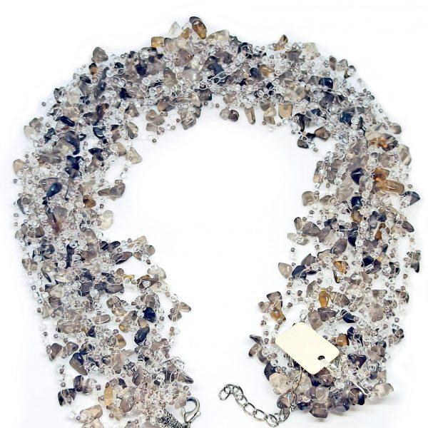 Collier artisanal quartz fumé